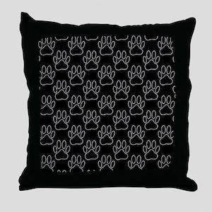 White Dog Paws In Black Background Throw Pillow