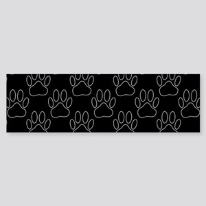 White Dog Paws In Black Background Bumper Sticker