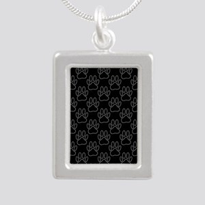 White Dog Paws In Black Background Necklaces