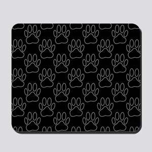 White Dog Paws In Black Background Mousepad