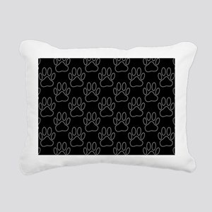 White Dog Paws In Black Rectangular Canvas Pillow