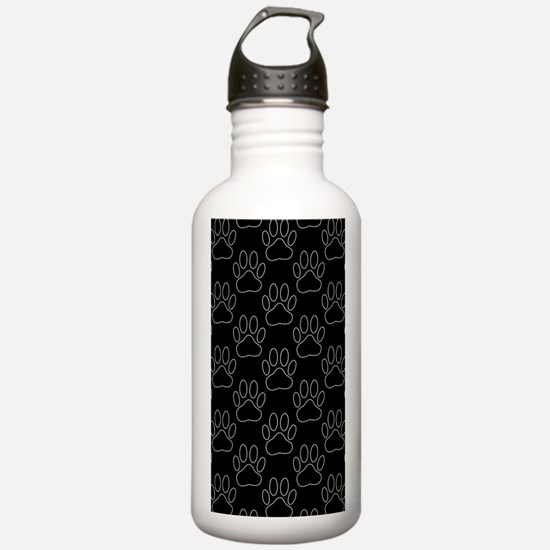 White Dog Paws In Blac Water Bottle