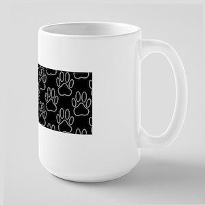 White Dog Paws In Black Background Mugs