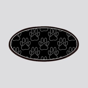 White Dog Paws In Black Background Patch