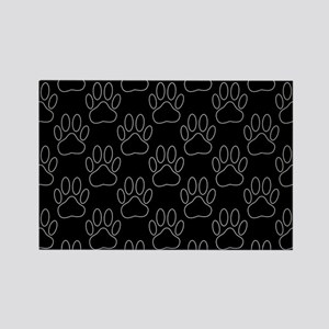 White Dog Paws In Black Background Magnets
