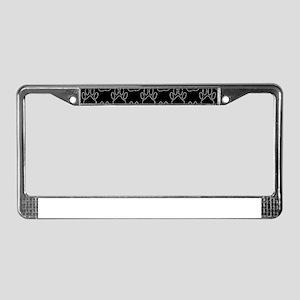 White Dog Paws In Black Backgr License Plate Frame
