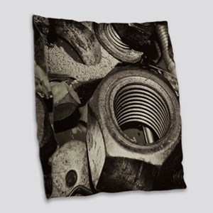 Nuts and Bolts Burlap Throw Pillow