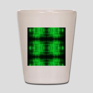 tribal neon green batik Shot Glass