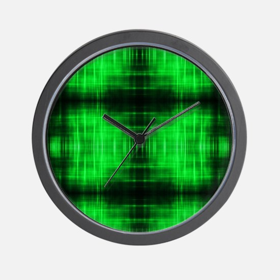 tribal neon green batik Wall Clock