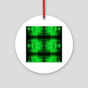 tribal neon green batik Round Ornament