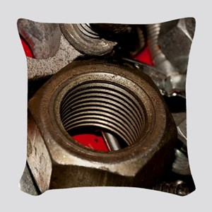 Nut Bolts and Washers Woven Throw Pillow