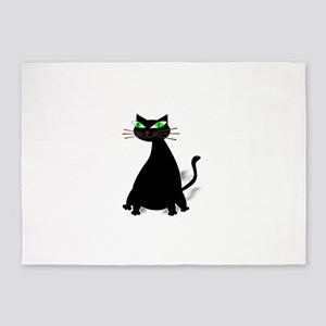 Black Fat Cat With Green Eyes 5'x7'Area Rug