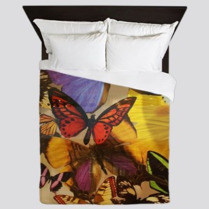girly summer colorful butterfly Queen Duvet