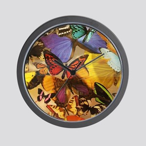 girly summer colorful butterfly Wall Clock