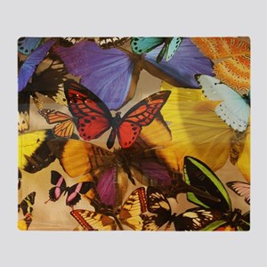 girly summer colorful butterfly Throw Blanket