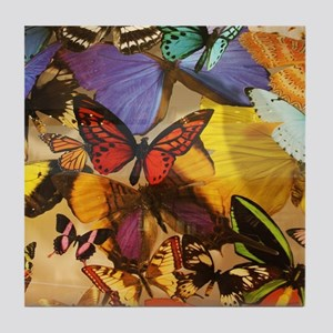 girly summer colorful butterfly Tile Coaster