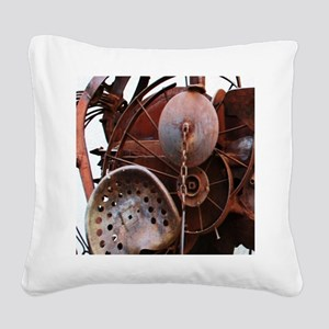 grunge Mechanical Gears rusti Square Canvas Pillow