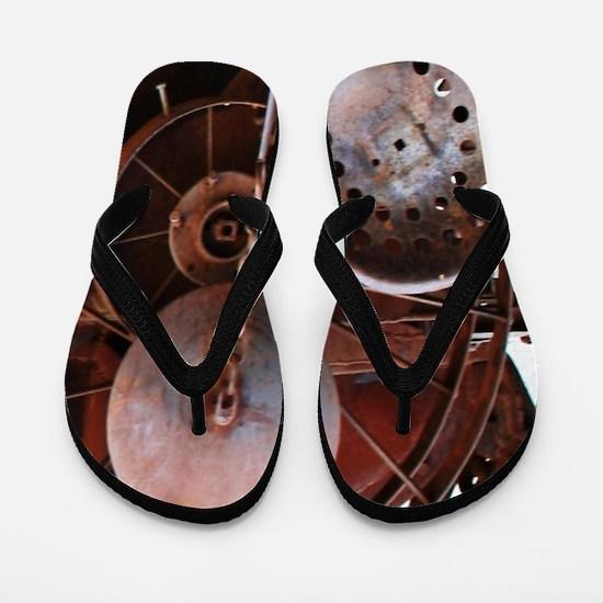 grunge Mechanical Gears rustic  Flip Flops