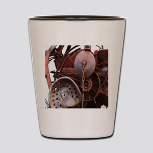 grunge Mechanical Gears rustic  Shot Glass