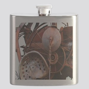 grunge Mechanical Gears rustic  Flask