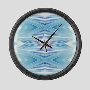 ombre blue ikat geometric Large Wall Clock