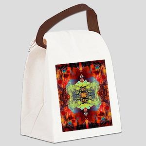 exotic hipster orange batik Canvas Lunch Bag