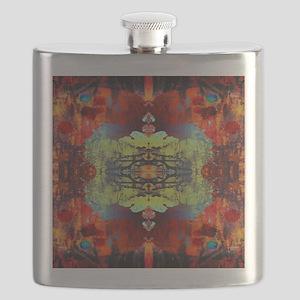 exotic hipster orange batik Flask