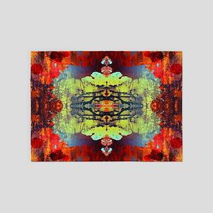 exotic hipster orange batik 5'x7'Area Rug