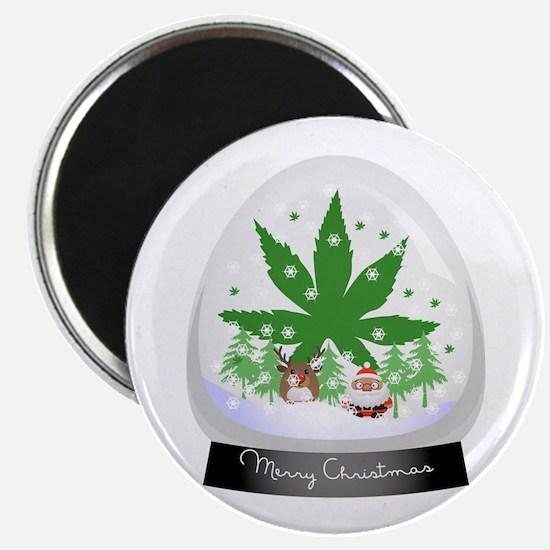 Merry Christmas Marijuana Snow globe Magnets