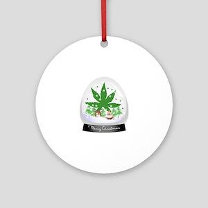 Merry Christmas Marijuana Snow glob Round Ornament