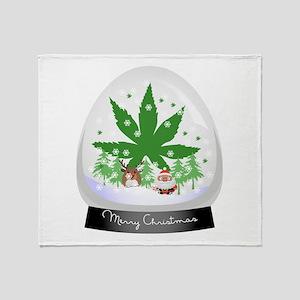 Merry Christmas Marijuana Snow globe Throw Blanket