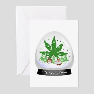 Merry Christmas Marijuana Snow glob Greeting Cards