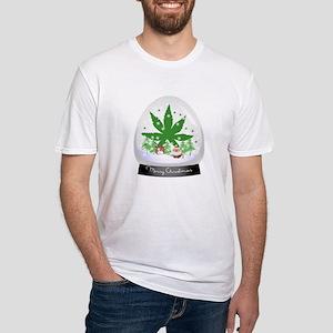 Merry Christmas Marijuana Snow Glob Fitted T-Shirt