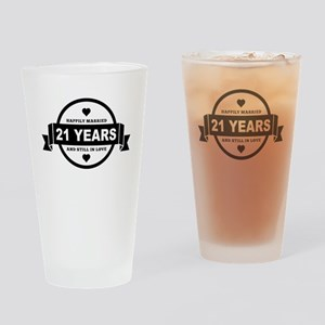 Happily Married 21 Years Drinking Glass