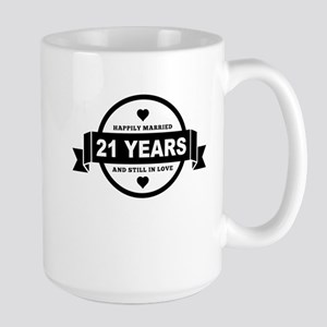 Happily Married 21 Years Mugs