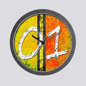 Number One Orange Yellow Blue Wall Clock