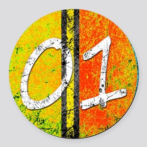 Number One Orange Yellow Blue Round Car Magnet
