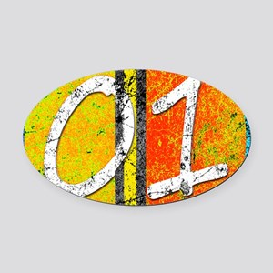 Number One Orange Yellow Blue Oval Car Magnet