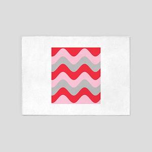 Pink Red Grey Squiggles Splendor Hi 5'x7'Area Rug