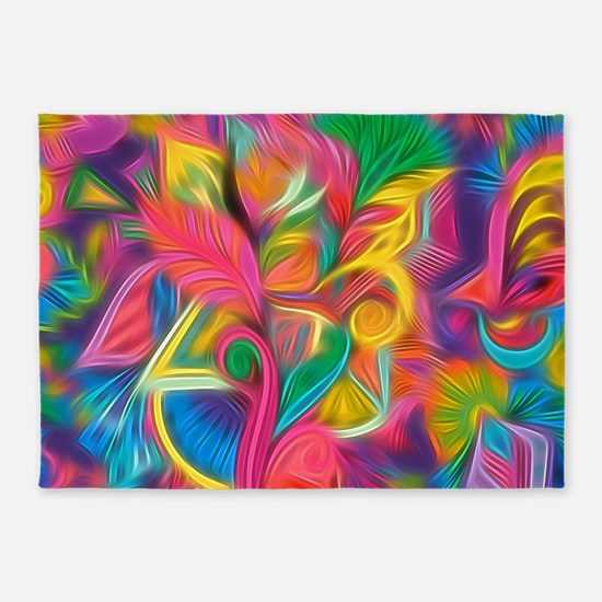 Psychedelic Painted Floral Arrangem 5'x7'Area Rug