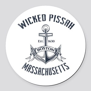 Wicked Pissah, Boston MA Round Car Magnet