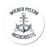 Massachusetts wicked pissah Round Car Magnets