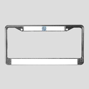 F Monogram - Letter F - Blue License Plate Frame