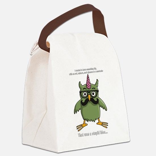 hipster nerd unicorn with mustache Canvas Lunch Ba