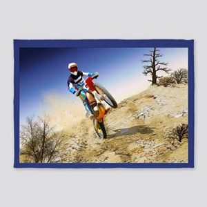 Desert Wheelie Motocross 5'x7'Area Rug