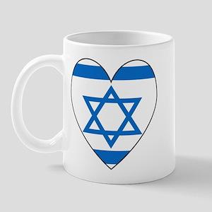 Israeli Flag Heart Mug
