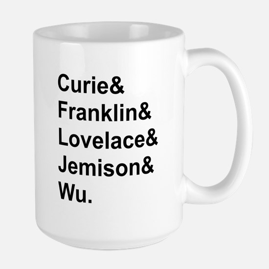 Women in Science, black text Mugs