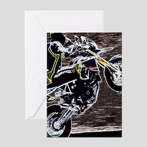grunge cool motorcycle racer Greeting Cards
