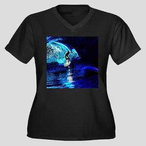 beach blue waves surfer Plus Size T-Shirt