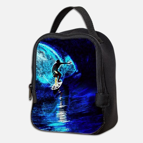 beach blue waves surfer Neoprene Lunch Bag